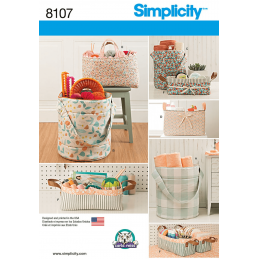 Bucket, Basket & Tote Bag Organisers Simplicity Sewing Pattern 8107