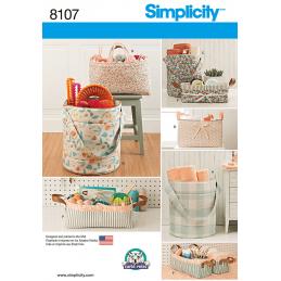 Simplicity Bucket, Basket & Tote Bag Organisers Sewing Pattern 8107