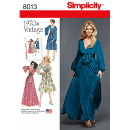 Misses' Vintage 1970's Faux Wrap Tie Dresses Simplicity Sewing Pattern 8013