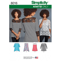 Misses' Knit Tops with Lace Variations Simplicity Sewing Pattern 8016