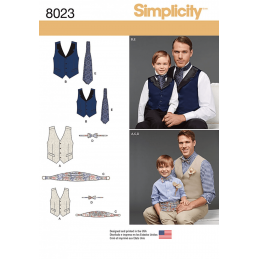 Boys' and Men's Vest Bow-tie Cummerbund and Ascot Simplicity Sewing Pattern 8023