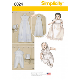 Babies' Christening Sets with Bonnets Simplicity Sewing Pattern 8024