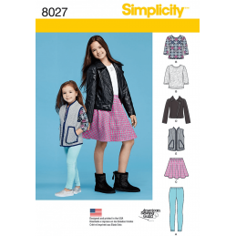 Child and Girls Basics Top Skirt Leggings Jacket Simplicity Sewing Pattern 8027