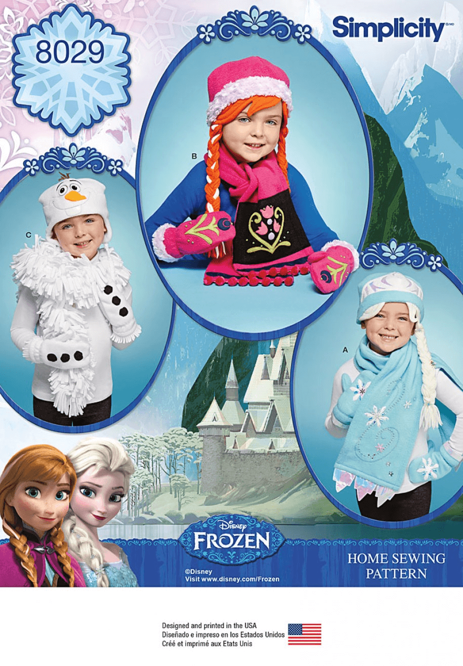 Disney Frozen Winter Accessories Hats and Scarves Simplicity Sewing Pattern 8029