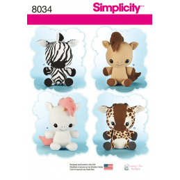 Stuffed Animal Toys Unicorn Pony Zebra Giraffe Simplicity Sewing Pattern 8034