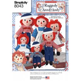 Raggedy Ann & Andy Dolls Rag Doll Toys Simplicity Sewing Pattern 8043
