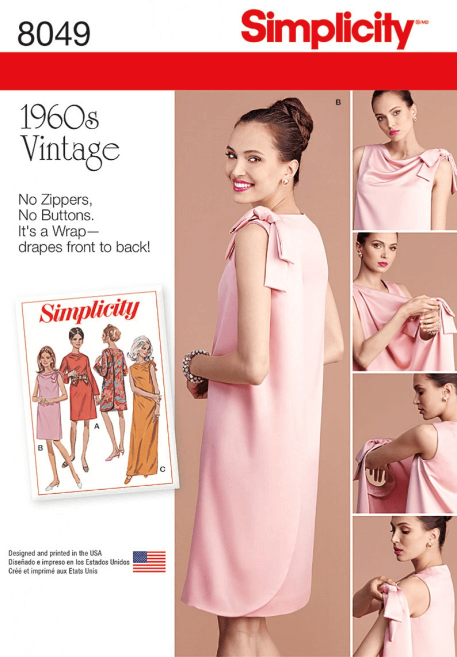 Misses' Vintage 1960's Three Armhole Wrap Dress Simplicity Sewing Pattern 8049