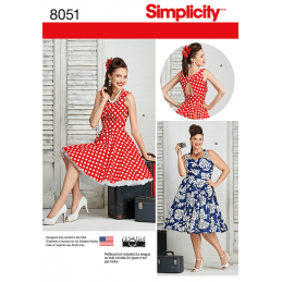Simplicity Misses Plus Size Rockabilly 50s Style Dresses Sewing Pattern 8051