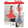 Misses and Plus Size Rockabilly 50s Style Dresses Simplicity Sewing Pattern 8051
