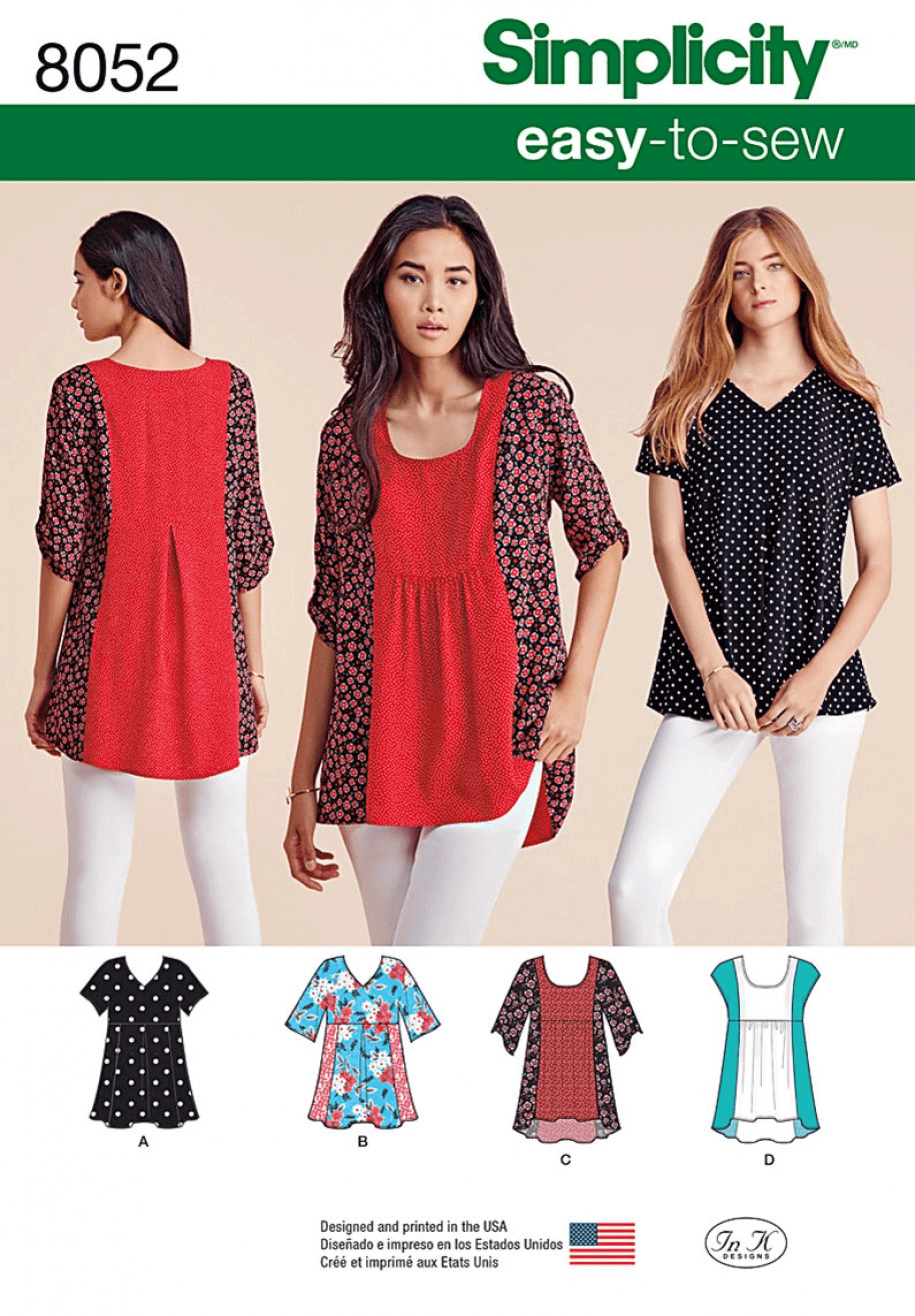 Misses' Easy-to-Sew Tops T-Shirts Casual Simplicity Sewing Pattern 8052