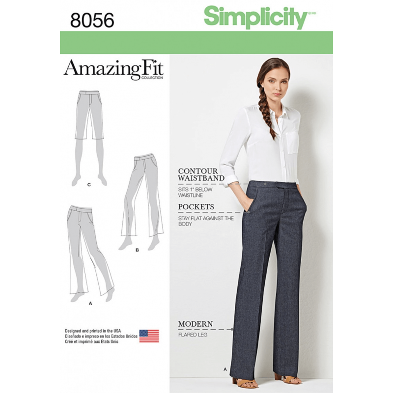 Amazing Fit Miss/Plus Size Flared Trousers Shorts Simplicity Sewing Pattern 8056