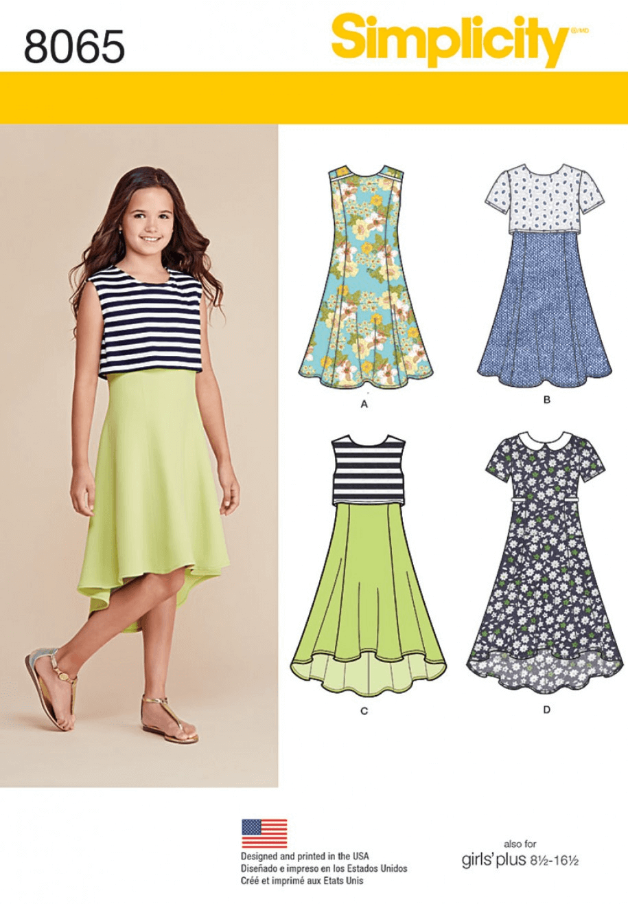Girls' and Girls' Plus Flare or Popover Dress Simplicity Sewing Pattern 8065