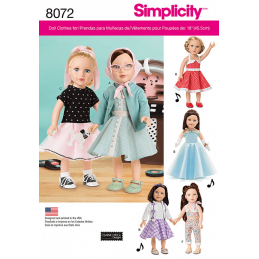 "Simplicity Vintage 1950s Inspired 18"" Doll Clothes Outfits Sewing Pattern 8072"