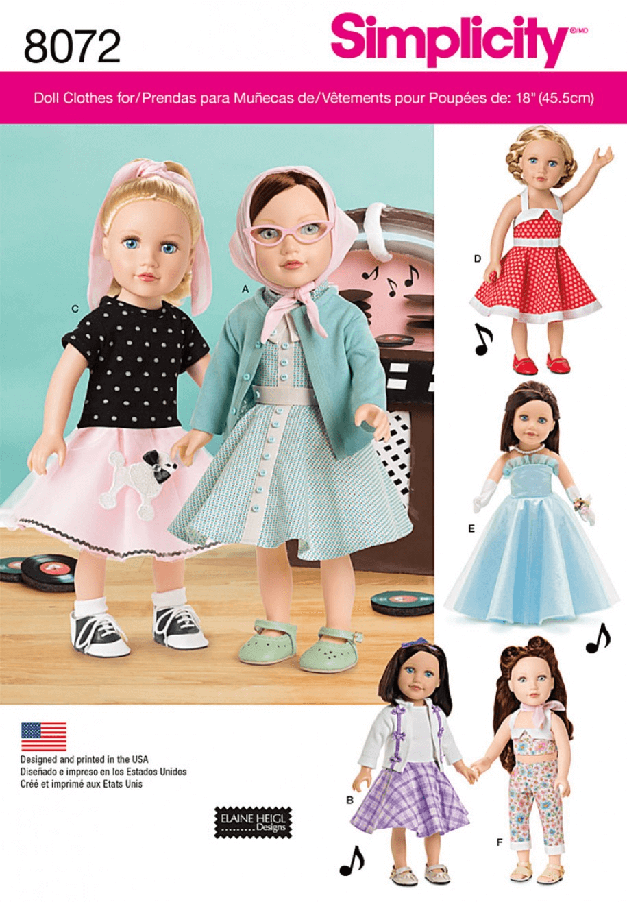 """Vintage 1950s Inspired 18"""" Doll Clothes Outfits Simplicity Sewing Pattern 8072"""