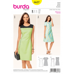 Misses Panel Seam Round Neck Dress Burda Sewing Pattern 6627