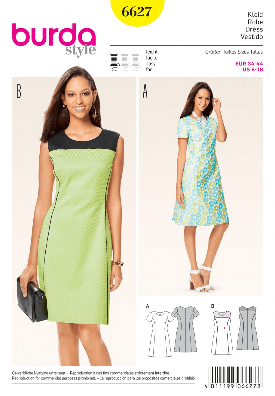 Misses Panel Seam Round Neck Dress Burda Sewing Pattern 6627
