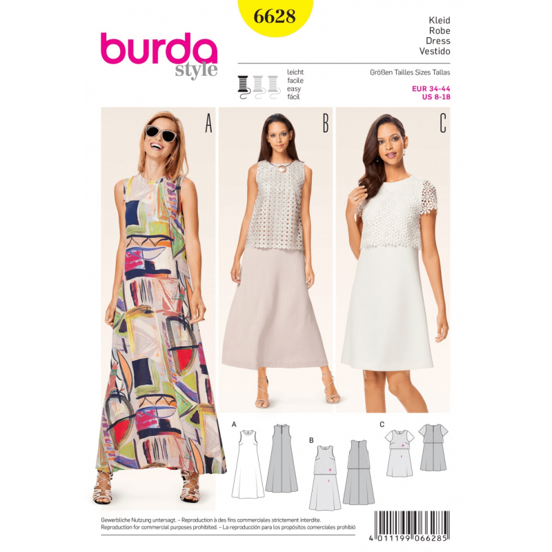 Misses Seventies Style Maxi or Midi Dress Burda Sewing Pattern 6628