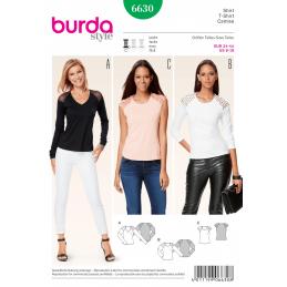 Misses Shirt T-Shirt Panel Contrast Detail Burda Sewing Pattern 6630