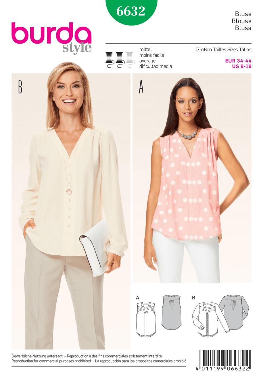 Misses Blouse Shirt Sleeveless or Long Sleeved Burda Sewing Pattern 6632