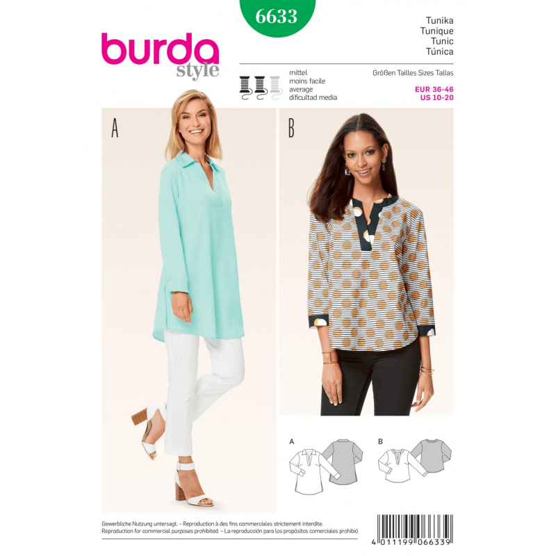 Misses Tunic Shirt Blouse Top Burda Sewing Pattern 6633