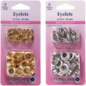 Hemline 36 x 8.7mm Eyelets Refill Pack Gold or Silver