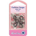Hemline 6 Sets x 11mm Fashion Snaps Ring Tops