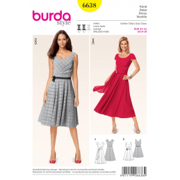 Misses Faux Wrap Pleat Flare Dress Burda Sewing Pattern 6638