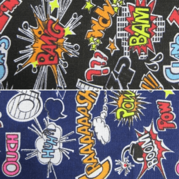Boom Bang Smash Pow Crashing Noises Cotton Canvas Fabric 150cm Wide