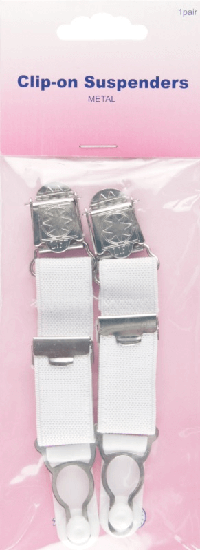 Hemline Clip On Suspenders In White 1 Pair