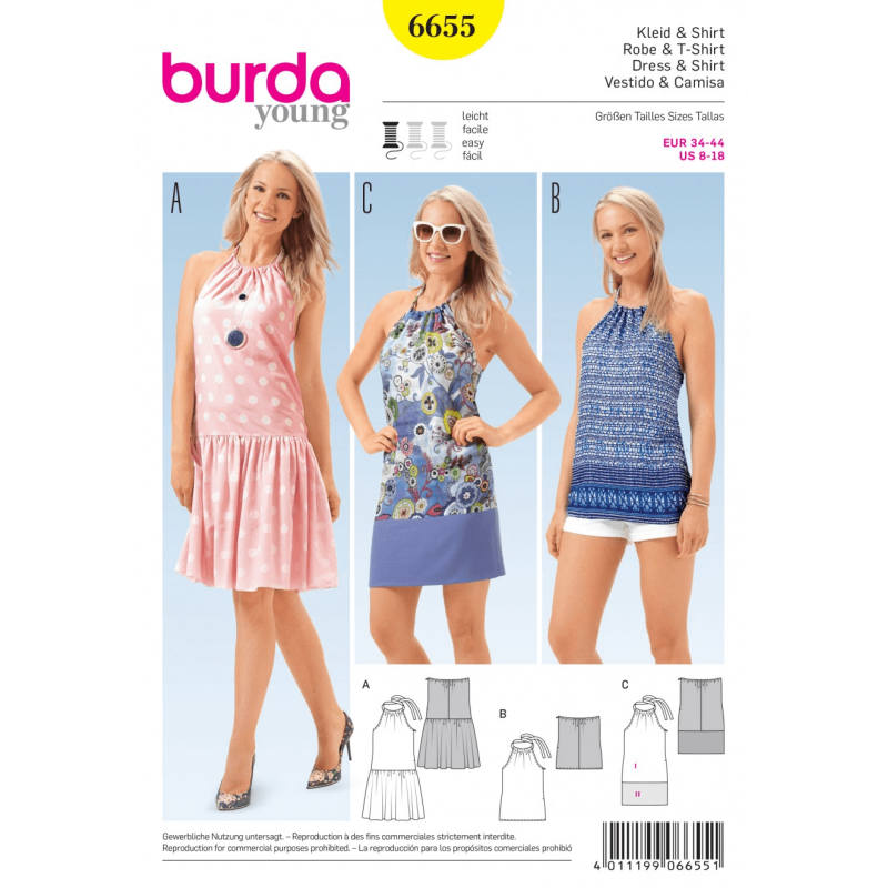Misses Halterneck Tie Dresses and Top Burda Young Sewing Pattern 6655