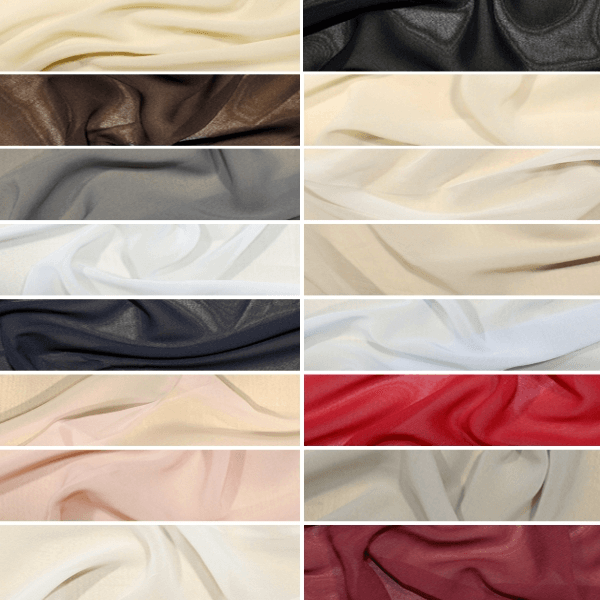 Black Windy Chiffon Fabric 100% Polyester
