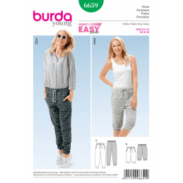 Burda Young Misses' Drawstring Sporty Joggers Shorts Sewing Pattern 6659