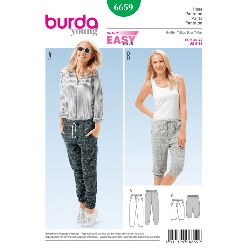 Misses Drawstring Sporty Joggers Shorts Burda Young Sewing Pattern 6659