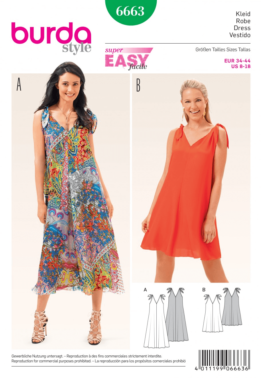 Misses Casual Tie Shoulder Summer Dress Burda Sewing Pattern 6663