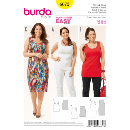 Misses Regular or Longline Vest Top and Jersey Dress Burda Sewing Pattern 6672