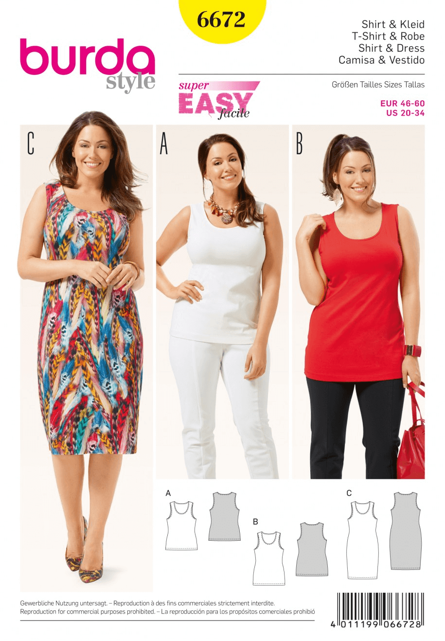 Misses Regular or Longline Vest Top and Jersey Dress Burda Sewing Pattern 6672