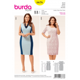 Misses Fitted Jersey Panel Dress Optional Overlay Burda Sewing Pattern 6676