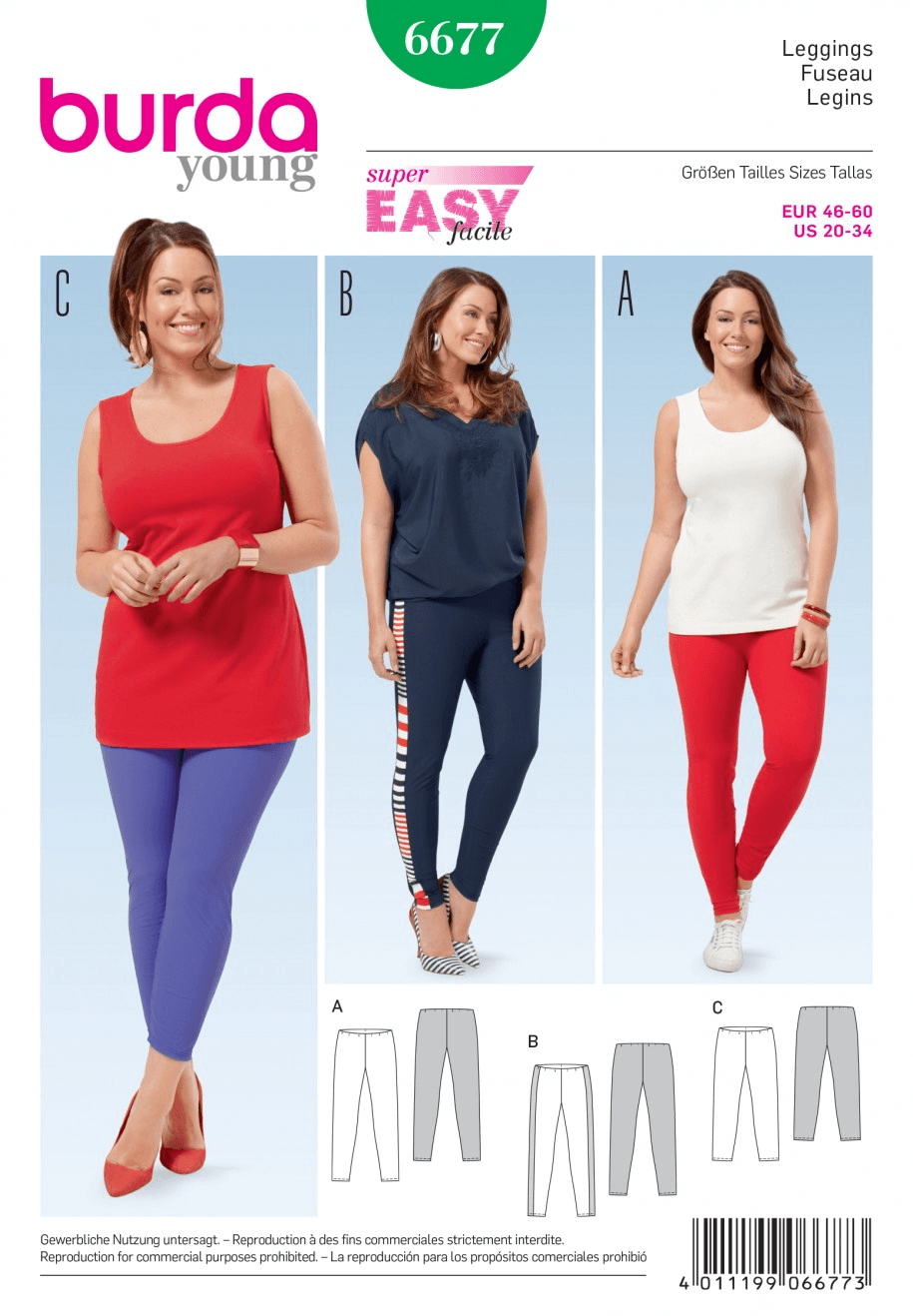 Misses Plus Super Easy Leggings Burda Sewing Pattern 6677