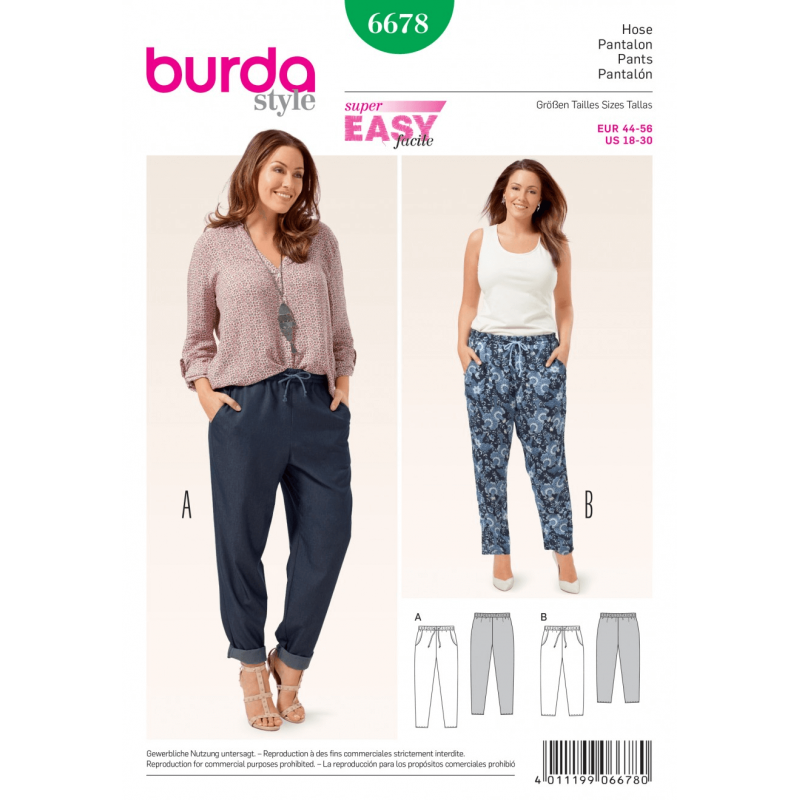 Misses Plus Casual Pull On Drawstring Trousers Burda Sewing Pattern 6678