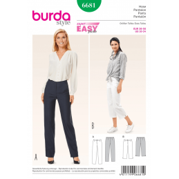 Burda Misses' Narrow Leg Trousers or Crops Sewing Pattern 6681