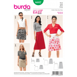 Misses Slim Flare Skirt in Various Lengths Burda Sewing Pattern 6682