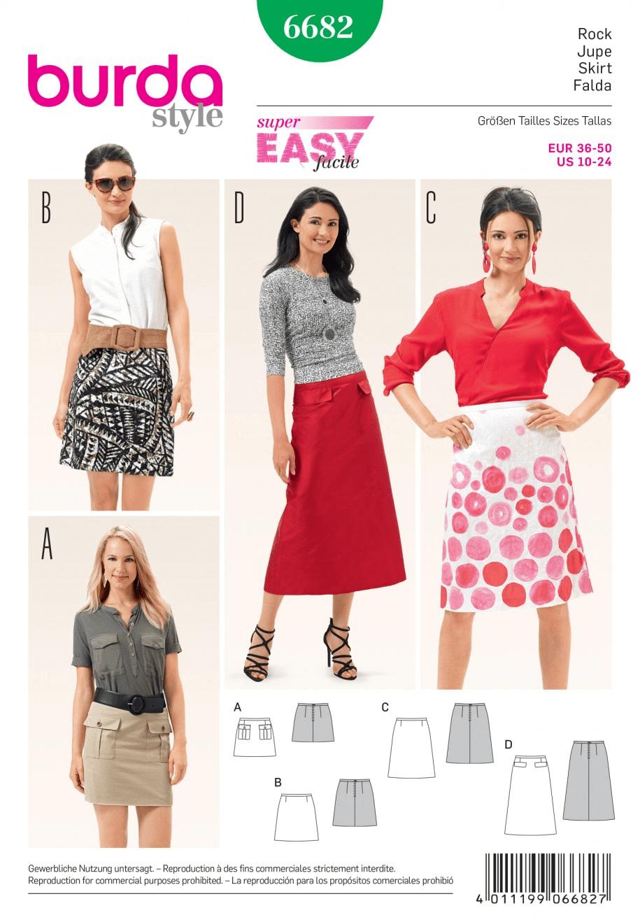 Misses Slim Flare Skirt in Various Lengths Burda Sewing Pattern 6682