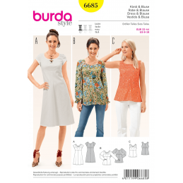 Misses Dress Blouse or Vest Top with Dart Neck Detail Burda Sewing Pattern 6685
