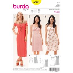 Misses Sundress Summer Dress Empire Waistline Burda Sewing Pattern 6686