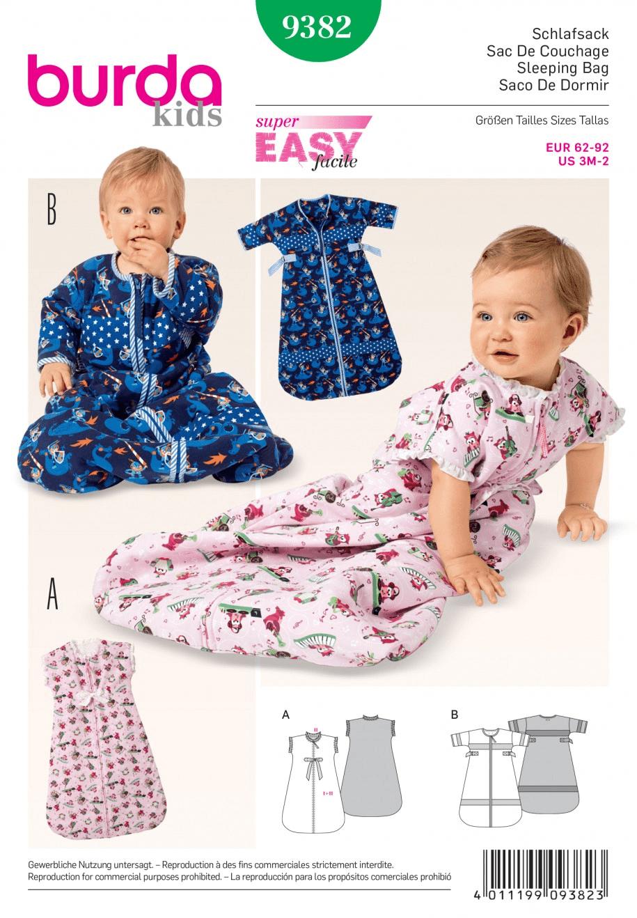 Kids Babies Sleeping Bag Sleepsuit Burda Sewing Pattern 9382