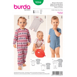 Kids Babies Bodysuit Babygrow Romper Burda Sewing Pattern 9384