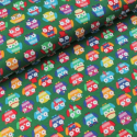 Smart Dressed Owls Birds Cotton Spandex Jersey Fabric (Megan Blue)