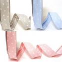 20mm Mini Scattered White Stars on Blue Pink or Grey Print Polycotton Bias Binding