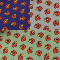 Falcon Heads Angry Birds Cotton Spandex Jersey Fabric (Megan Blue)