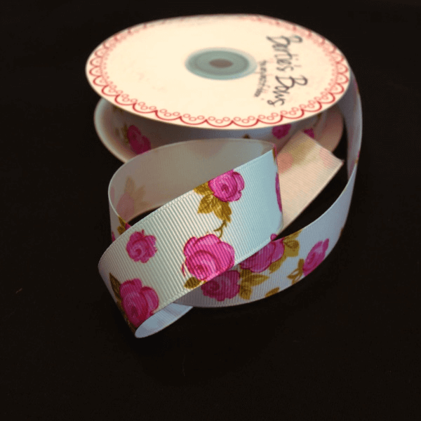 Bertie's Bows 25mm Bright Budding Roses Print Grosgrain Craft Ribbon